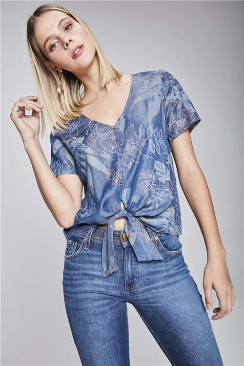 Blusa Jeans com Amarração Estampada