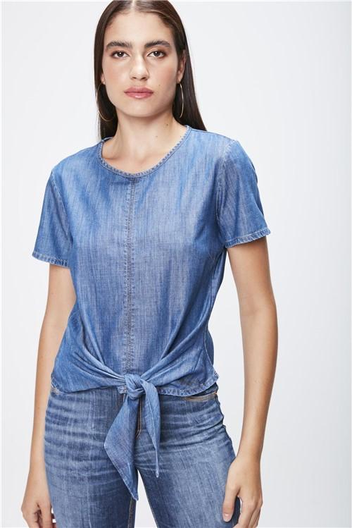 Blusa Jeans com Amarração Feminina