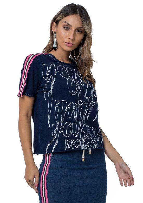 Blusa Jeans com Escrita