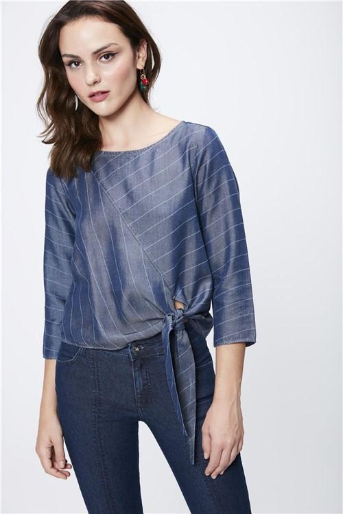 Blusa Jeans Feminina com Amarração