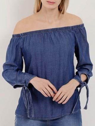 Blusa Jeans Manga ¾ Ciganinha Feminina Azul