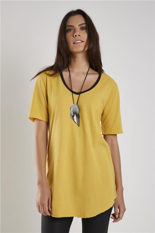 Blusa Malha Básica Bicolor Amarelo Sunset - P