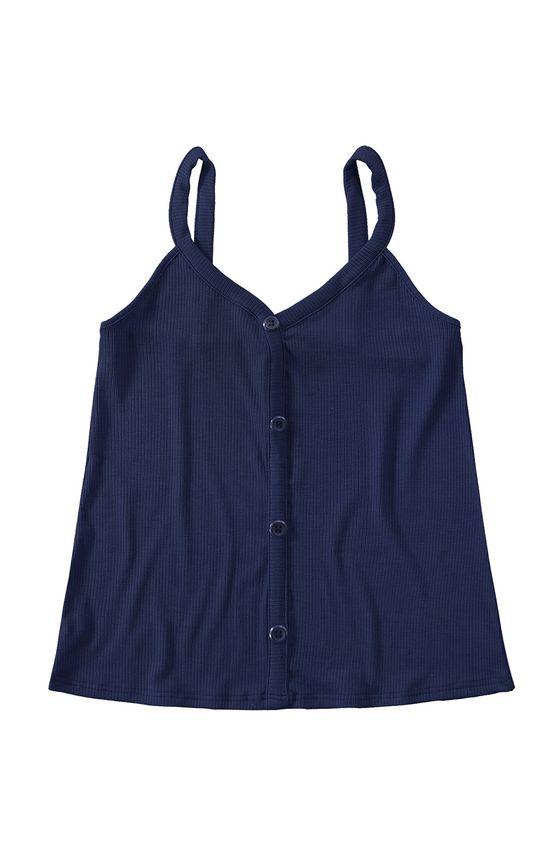 Blusa Malha Canelada Malwee Azul Escuro - G