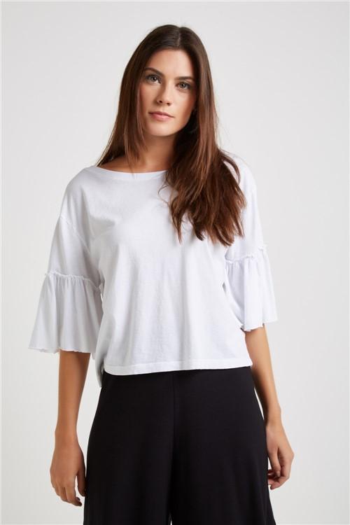 Blusa Malha Manga Franzido Branco - G