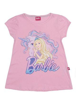 Blusa Manga Curta Barbie Infantil para Menina - Rosa