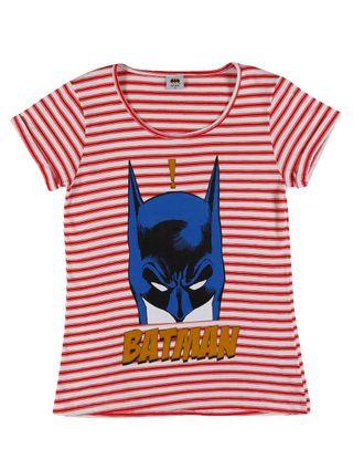 Blusa Manga Curta Batman Juvenil para Menina - Vermelho
