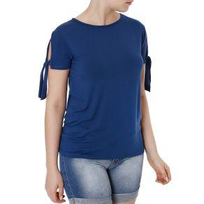 Blusa Manga Curta Feminina Azul P