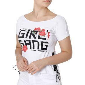 Blusa Manga Curta Feminina Branco GG