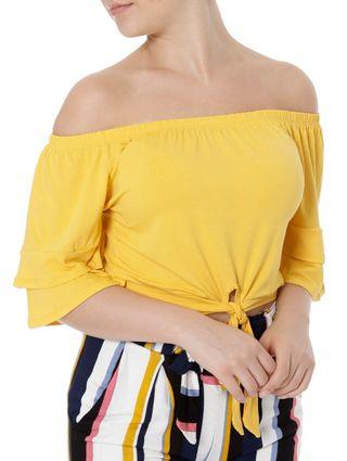 Blusa Manga Curta Feminina Ciganinha Autentique Amarelo