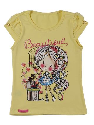 Blusa Manga Curta Infantil para Menina - Amarelo