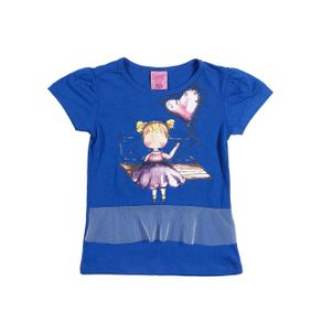 Blusa Manga Curta Infantil para Menina - Azul 10