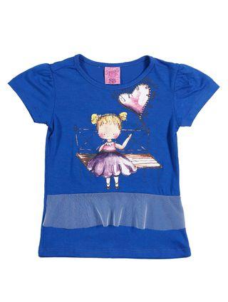 Blusa Manga Curta Infantil para Menina - Azul