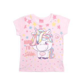Blusa Manga Curta Infantil para Menina - Rosa 1