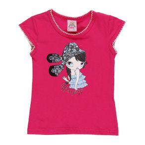 Blusa Manga Curta Infantil para Menina - Rosa Blusa Manga Curta Infantil para Menina Rosa 3
