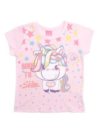 Blusa Manga Curta Infantil para Menina - Rosa