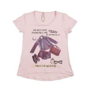 Blusa Manga Curta Juvenil para Menina - Rosa 12