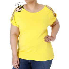Blusa Manga Curta Plus Size Feminina Amarelo G