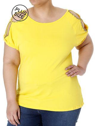 Blusa Manga Curta Plus Size Feminina Amarelo