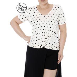 Blusa Manga Curta Plus Size Feminina Autentique Off White G2