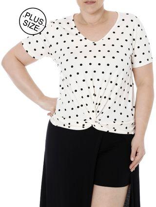 Blusa Manga Curta Plus Size Feminina Autentique Off White