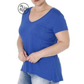 Blusa Manga Curta Plus Size Feminina Azul Escuro P