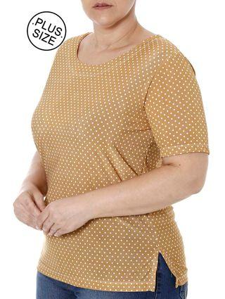 Blusa Manga Curta Plus Size Feminina Caramelo