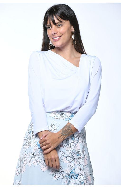 Blusa Manga Longa com Pregas-branco - M