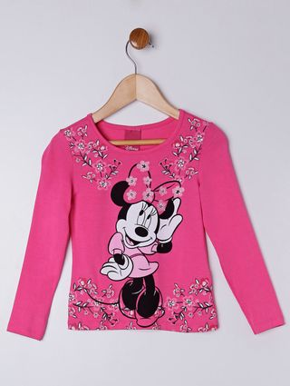 Blusa Manga Longa Disney Infantil para Menina - Rosa