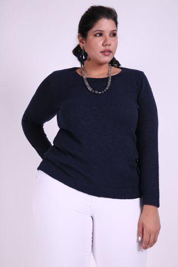 Blusa Mescla Tricot Plus Size Azul Marinho G