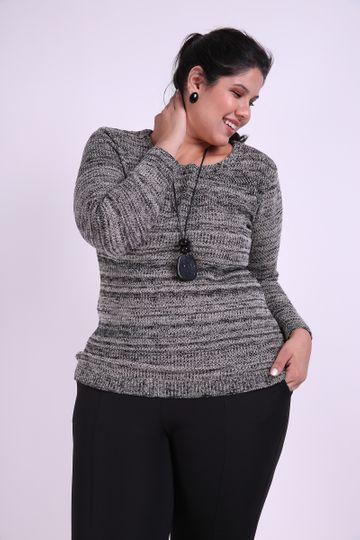 Blusa Mescla Tricot Plus Size Preto M