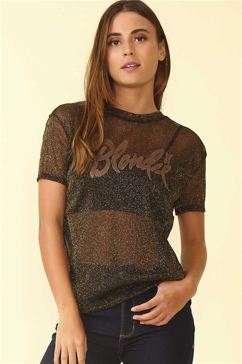 Blusa Metalizada Blondie - Preto Tamanho: M