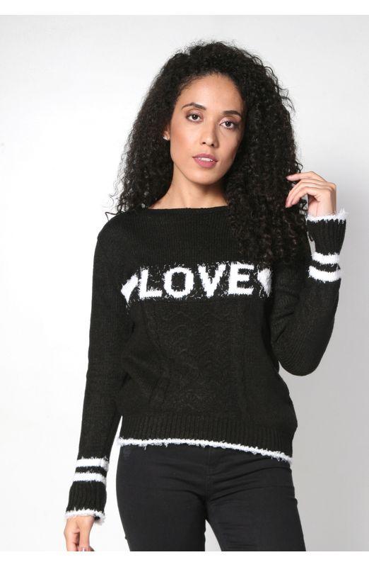 Blusa Mousse Love Tricot Preto