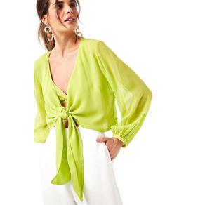 Blusa Nó Frente Top Verde Carambola - 36
