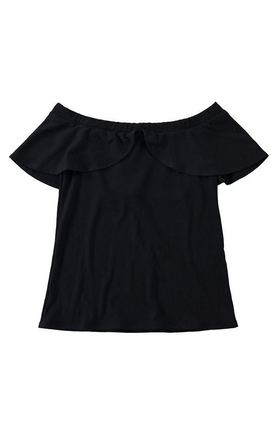 Blusa Ombro a Ombro Canelada Malwee Preto - M
