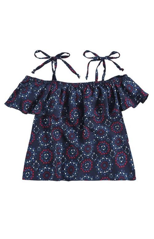 Blusa Ombro a Ombro Infantil Malwee Super Mães Azul - 1