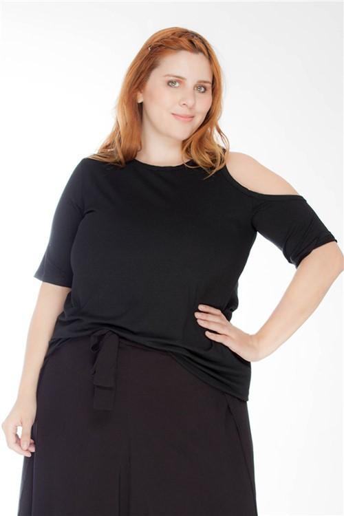 Blusa Ombro Vazado Plus Size Preto-46/48
