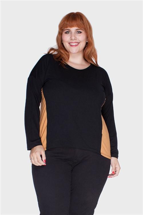 Blusa Recortes Laterais Plus Size Caramelo-46/48