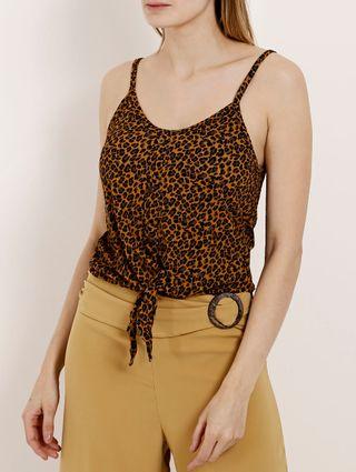 Blusa Regata Animal Print Feminina Autentique Amarelo/onça