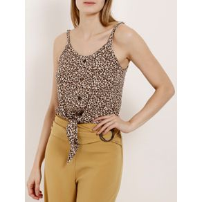 Blusa Regata Animal Print Feminina Autentique Bege/onça G
