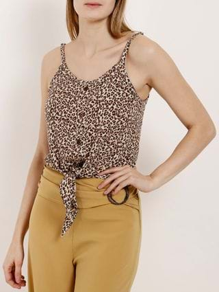 Blusa Regata Animal Print Feminina Autentique Bege/onça
