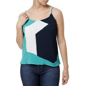 Blusa Regata Feminina Azul Marinho/verde P