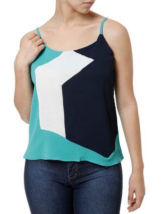 Blusa Regata Feminina Azul Marinho/verde