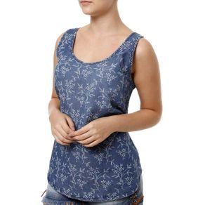 Blusa Regata Feminina Cativa Jeans Azul P