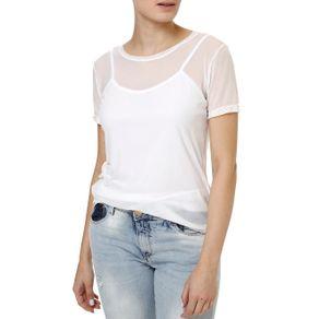 Blusa Regata Feminina com Sobreposição Branco M