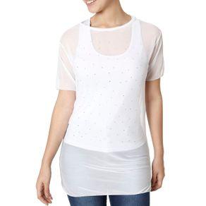 Blusa Regata Feminina com Sobreposição Branco P