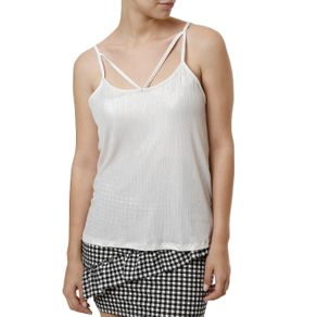 Blusa Regata Feminina Off White G