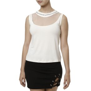Blusa Regata Feminina Off White M