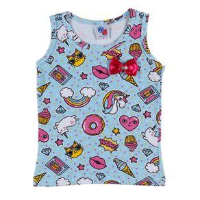 Blusa Regata Infantil para Menina - Azul 6