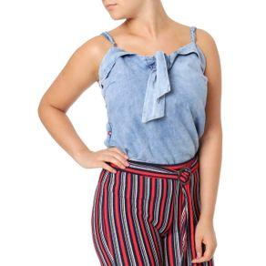 Blusa Regata Jeans Feminina Azul G