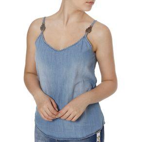 Blusa Regata Jeans Feminina Cativa Azul M